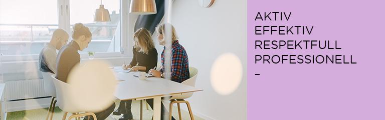 Människor som arbetar på kontor. Löfs värdeord: aktiv, effektiv, respektfull, professionell.