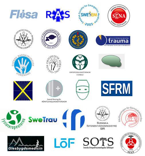 Logotyper för deltagande aktörer i Säker Traumavård